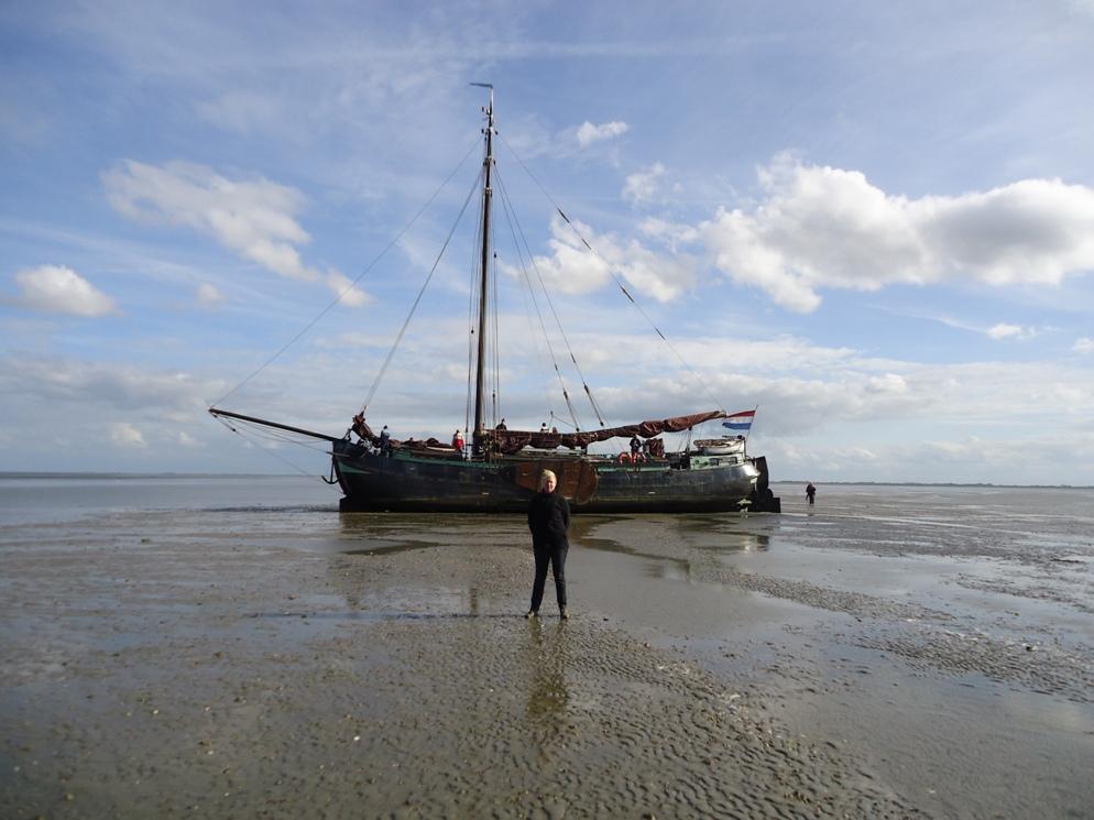 Droogliggende boot op het wad